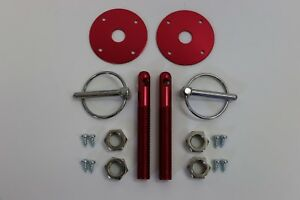 Red Aluminum Hood Pin Set Chrome Hardware Fits Chevy Ford Mopar Drag Racing Race