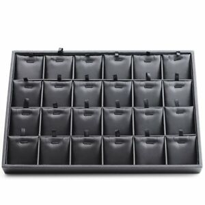 Oirlv Black Leather 24 Grids Inserts Jewelry Tray Pendant Earrings Showcase