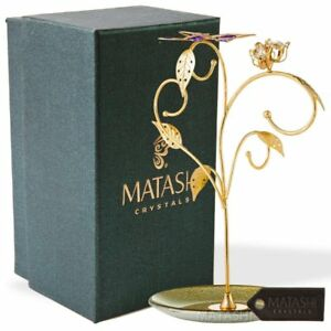 Matashi 24k Gold Plated Jewelry Stand Elegant Floral butterfly Design Decor
