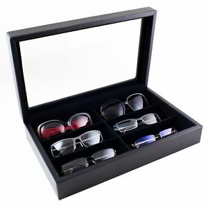 Caddy Bay Collection Large Sunglasses Case Display Storage Box With Glass Top