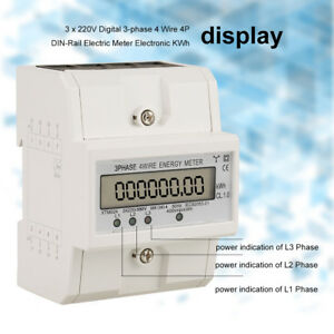 Digital Electronic Kwh Meter 3 phase 4 Wire 4p Din rail Electric Meter 3x220v Im