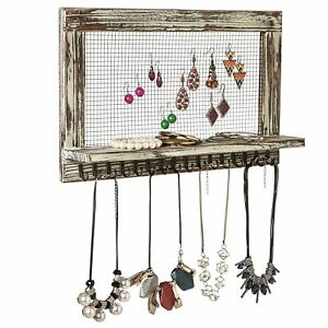Distressed Wood Wall Mounted Jewelry Earring Bracelet Organizer Display Shelf