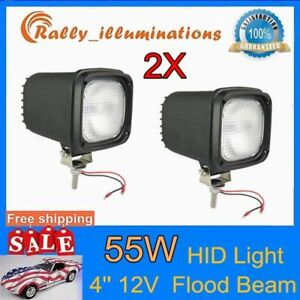 2x 4 55w 12v Hid Xenon Headlight Driving Flood Fog Lamp 4wd Suv H3 Bulb Pk 75w