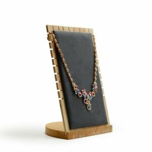 Oirlv Solid Wood Jewelry Display Stand Necklace Showcase Holder Pendant long