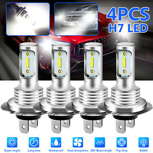 4x H7 Super White Cree Led Headlight Fog Drl Bulbs Kit High Low Beam 6000k White