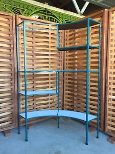 Frederick Weinberg 5 Tiered Curved Iron Shelving Wall Unit Mid Century Modern