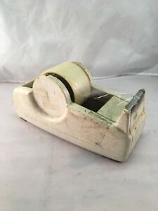 Old Large Warehouse Industrial Decor Tape Heavy Desktop Dispenser Vintage White