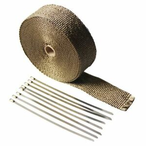 New Titanium Exhaust header Heat Wrap 1 X 50 Roll With Stainless Ties Kit