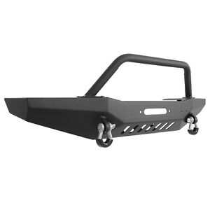 For 84 01 Jeep Cherokee Xj Front Bumper With Winch Plate Rock Crawler Black