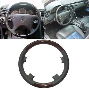 Gray Leather Wood Steering Wheel Cover Benz 00 02 W210 E 320 97 02 C208 W208 Clk