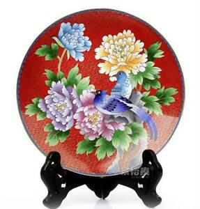 10 China Antique Handmade Cloisonne Enamel Painting Flower Phoenix Red Plate