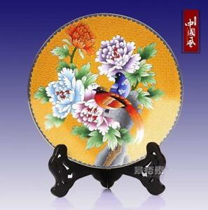 10 China Antique Handmade Cloisonne Enamel Painting Flower Bird Yellow Plate