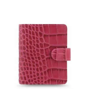 Filofax Classic Croc Pocket Size Organizer planner Fuchsia Color Leather 026078