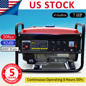 Portable Gas Generator 4000w Remote Emergency Home Back Up Power Air cooled 7hp
