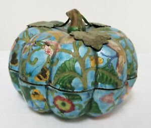 Antique Chinese Enameled Copper Melon Pumpkin Form Box As Is