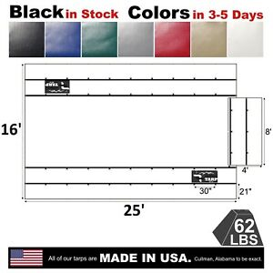 4 Drop Flatbed Truck Vinyl Steel Tarp 16 X 25 With Flap Made In Usa