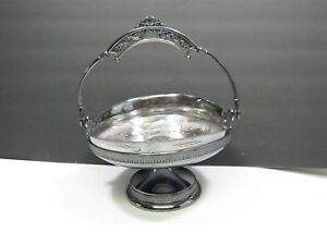 Victorian Derby Silverplate Brides Basket Connecticut Birds