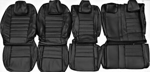 2015 2017 Ford Escape S Black W silver Stitch Leather Upholstery Seat Cover Set