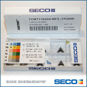 Tcmt 21 51 Mf2 110204 Tp2500 Seco 10 Inserts Factory Pack