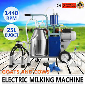 25l Electric Milking Machine For Goats Cows W bucket 304 Stainless Steel 1440rpm