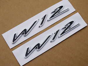 2x W12 Wing Badge Fender Side Rear Emblem Decals For Bentley Continental Gt Gtc
