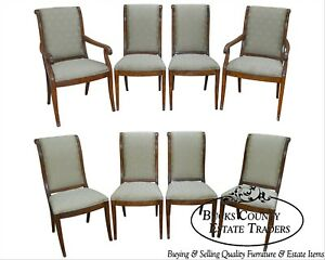 Henredon Charles X Collection Set Of 8 Burl Wood Dining Chairs B