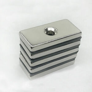 40mm X 20mm X 5mm Block Strong Rare Earth Neodymium Magnet N48 Countersunk 5mm