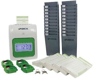 Upunch Ub1000 Electronic Punch Card Time Clock Bundle Gray