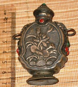 Antique Chinese Tibetan Silver Snuff Bottle Turquoise And Coral Stones Foo Dogs