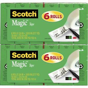 Scotch Magic Tape 1 Core 3 1 x1000 12 bd Transparent 810k6bd