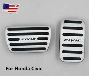 Set Of Car Part Brake Foot Rest Pedals Covers Automatic No Drill For Honda Civic