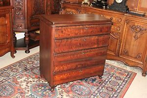 English Antique Mahogany Queen Anne Chest Of Drawers 4 Drawer Bedroom Dresser