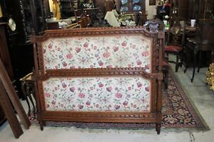 French Antique Carved Oak Louis Xvi Upholstered Queen Size Panel Bed Furniture