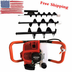 Gas Powered Post Hole Digger 52cc Powered Engine W 4 6 8 Earth Auger Bit Usa
