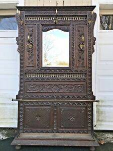 Antique French Black Forest Carved Wood Hall Tree W Mirror