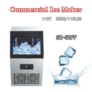 Ice Cube Machine Commercial Ice Maker Stainless Steel 110lbs 230w 110v 50kg Auto