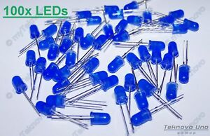 100x Blue Color Led Wet Diffused Round Style 5mm 2 6 3 0 V 15ma Usa