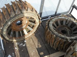 Set Of 2 Steel Skid Steer Or Compact Tractor Wheels Belted 30 Diameter 12 wide