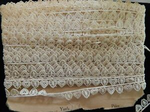 Antique French Victorian Heart Tiny Hand Lace Trim 53 Feet
