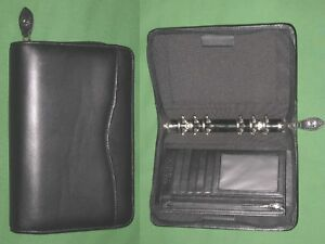 Portable 1 0 Black Leather Day Timer Planner Binder Franklin Covey Compact 38