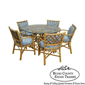 Ficks Reed Vintage Rattan 6 Piece Round Glass Top Dining Table Chair Set