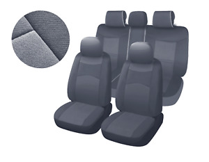 Two Tone Grey Poly Fabric Full Set Car Rear Split Seat Cover For Chevrolet 8660