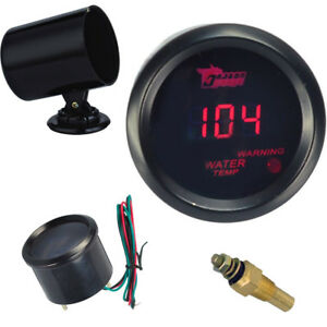 Car Motor Black 2 52mm Red Digital Led Electronic Water Temperature Gauge Pod