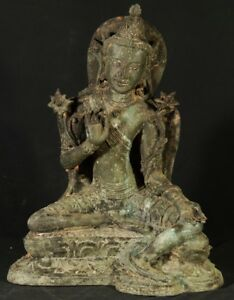 Middle 20th Century Old Bronze Tara Statue From Burma Antique Buddha Statues