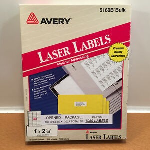Avery 5160 Easy Peel White Address Labels 1 X 2 5 8 5160b 7080 New Labels