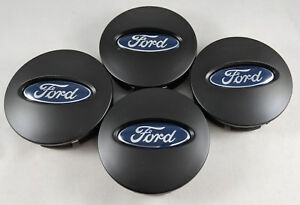4x Ford Matte Black Wheel Hub Center Caps Bb53 1a096 Ra Edge Explorer Fusion