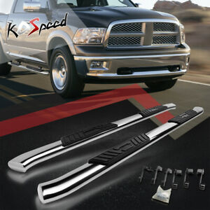 5 Chrome Running Board Curved Side Step Bar For 09 20 Dodge Ram Truck Crew Cab