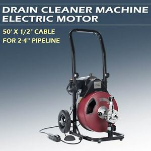 Drain Auger Pipe Cleaner Machine Plumbing Cleaning Machine Flexible 50ft 1 2
