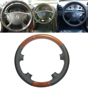 Gray Leather Light Brown Wood Steering Wheel Cover Trim 02 06 W211 E E320 E500
