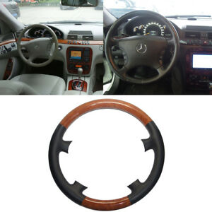 Black Leather Brown Wood Steering Wheel Cover Benz W220 S S430 S500 W215 C215 Cl